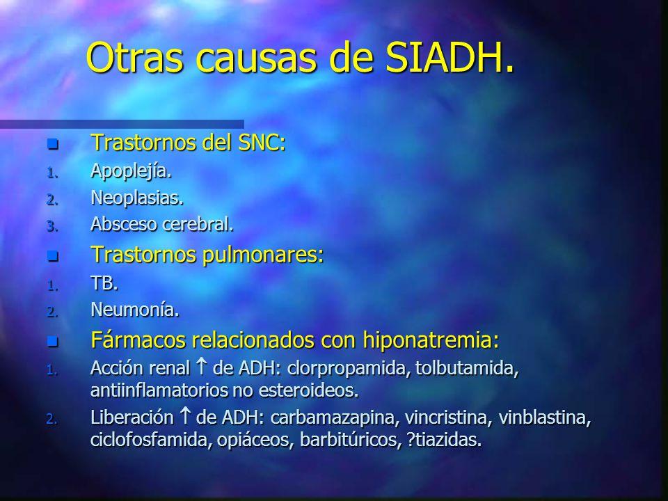 Otras causas de SIADH. Trastornos del SNC: Trastornos pulmonares: