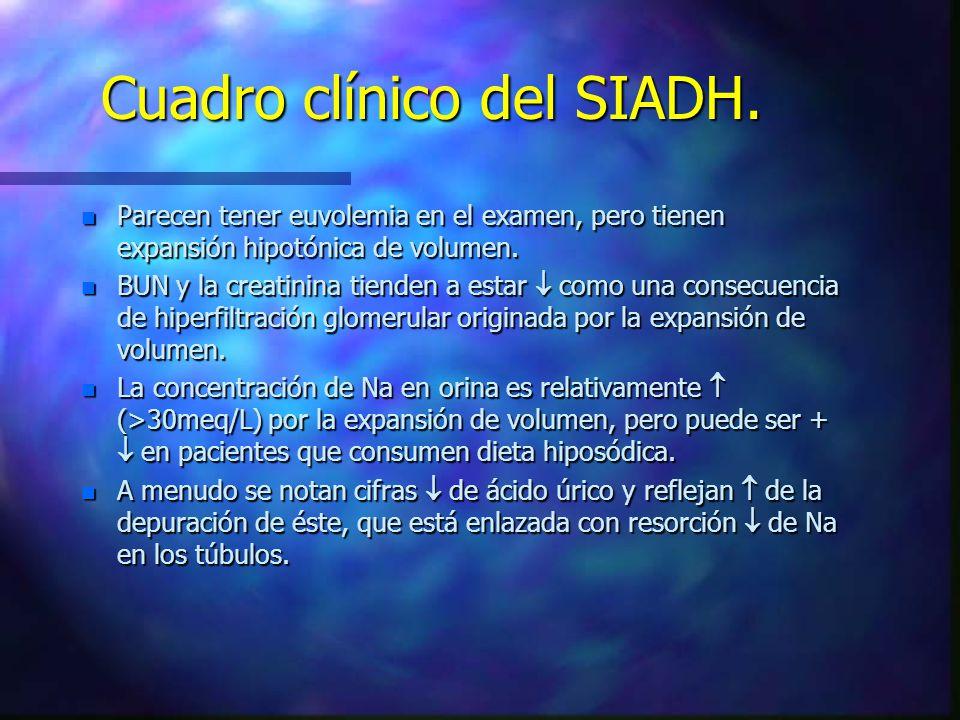Cuadro clínico del SIADH.