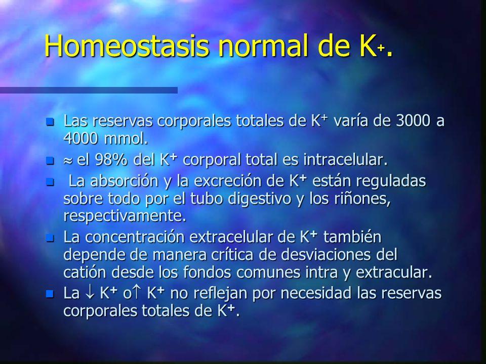 Homeostasis normal de K+.