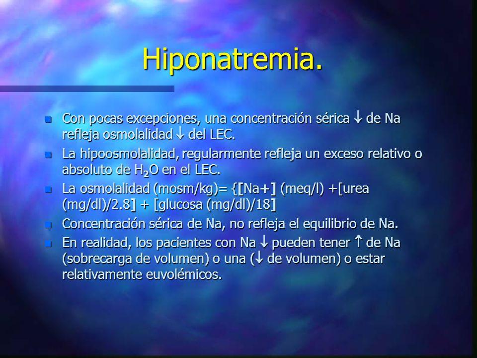 Hiponatremia. Con pocas excepciones, una concentración sérica  de Na refleja osmolalidad  del LEC.