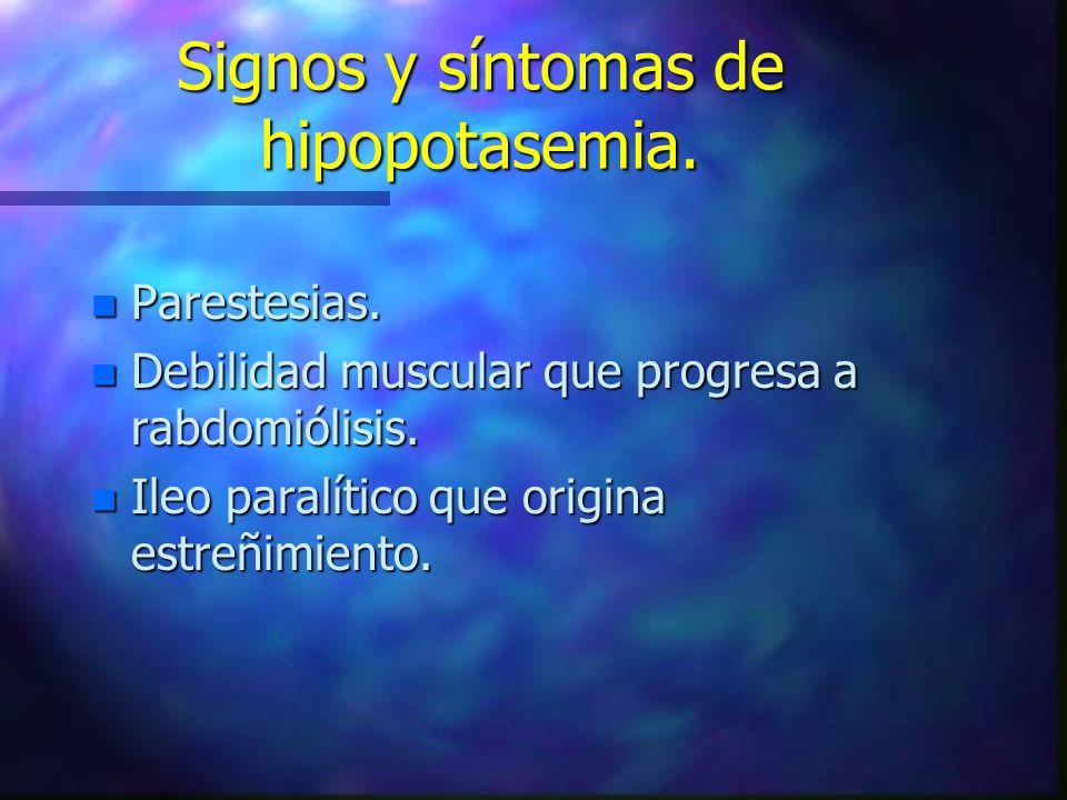Signos y síntomas de hipopotasemia.