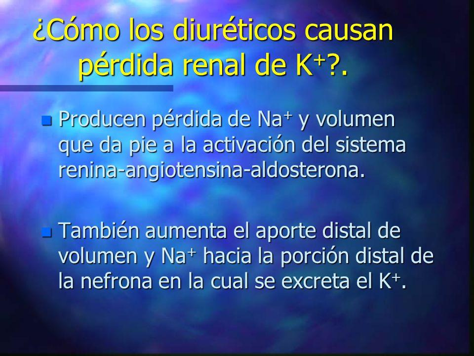¿Cómo los diuréticos causan pérdida renal de K+ .