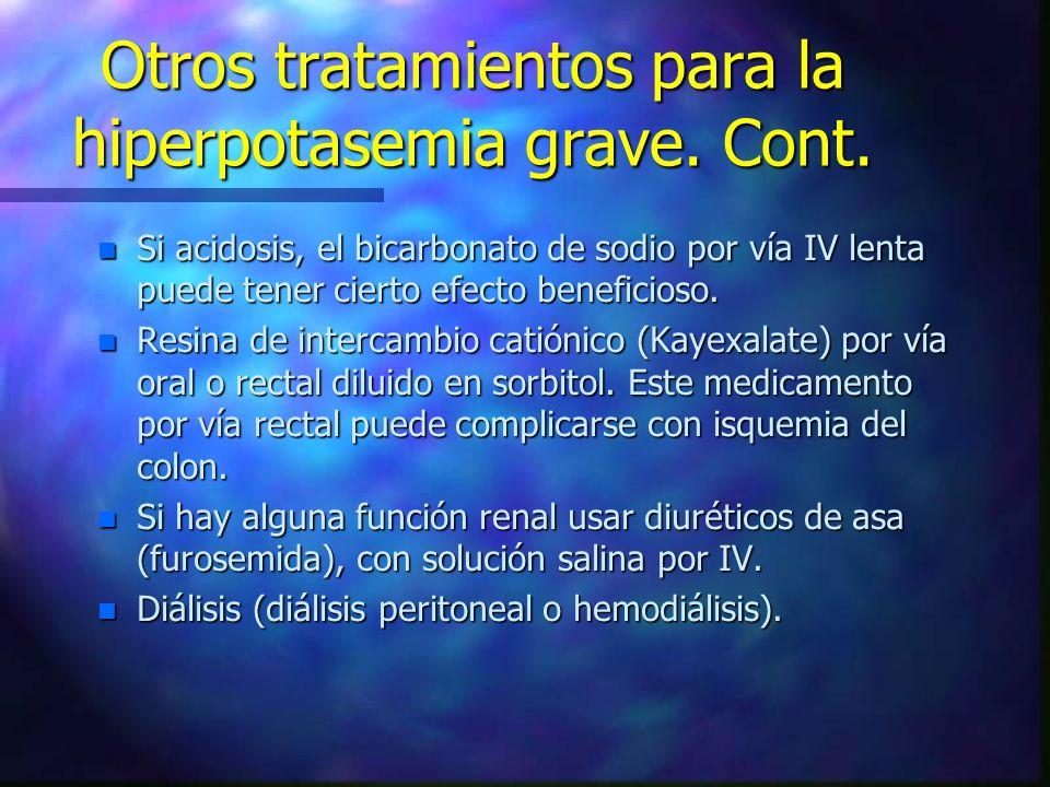 Otros tratamientos para la hiperpotasemia grave. Cont.