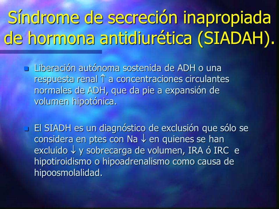Síndrome de secreción inapropiada de hormona antidiurética (SIADAH).