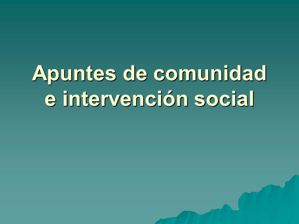 Apuntes de comunidad e intervención social