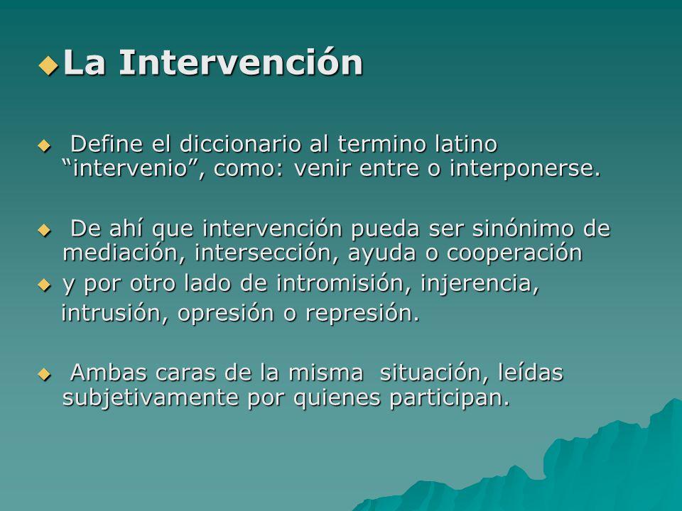La Intervención Define el diccionario al termino latino intervenio , como: venir entre o interponerse.