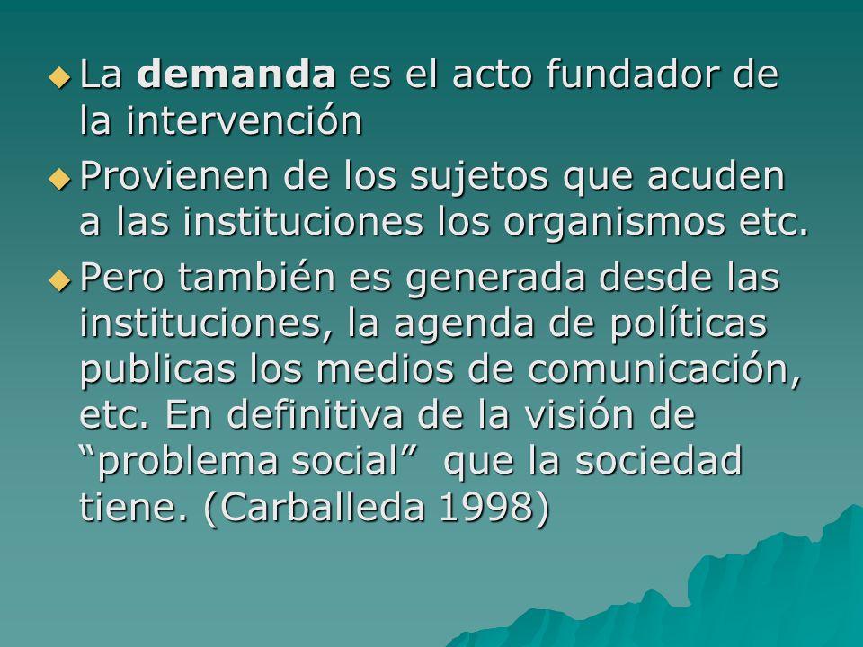 La demanda es el acto fundador de la intervención