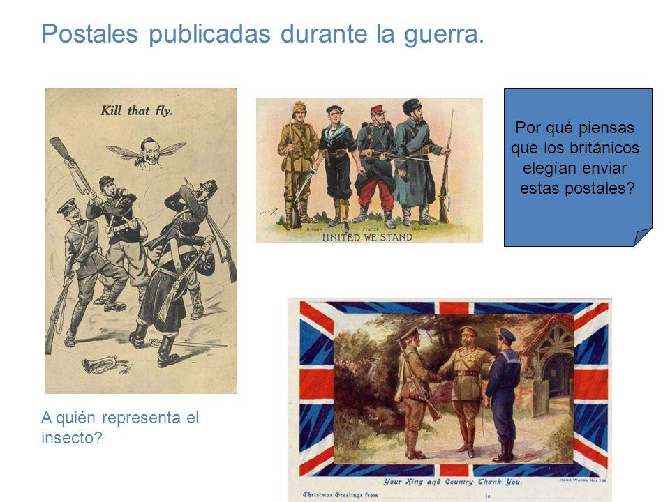 Postales publicadas durante la guerra.