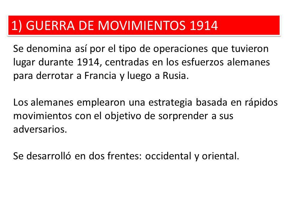 1) GUERRA DE MOVIMIENTOS 1914