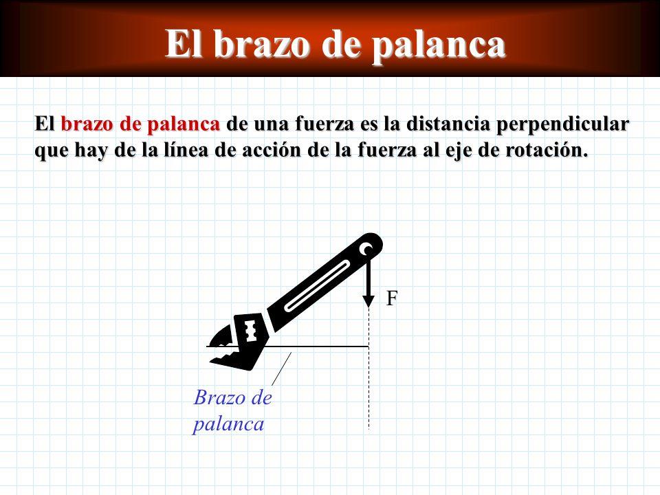 El brazo de palanca El brazo de palanca de una fuerza es la distancia perpendicular que hay de la línea de acción de la fuerza al eje de rotación.