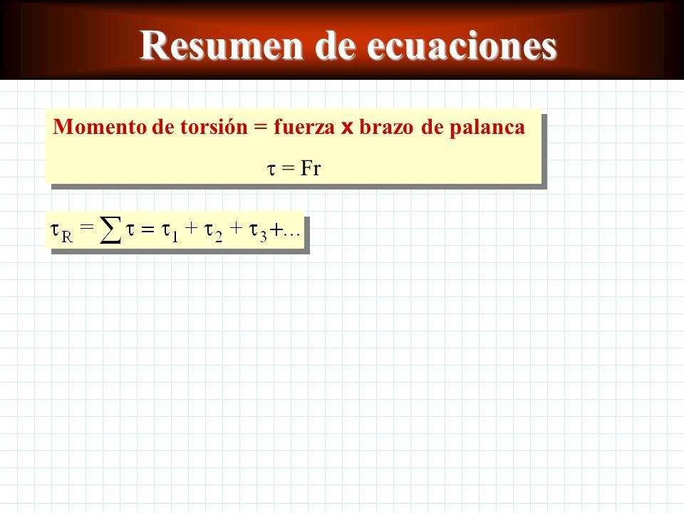 Resumen de ecuaciones Momento de torsión = fuerza x brazo de palanca