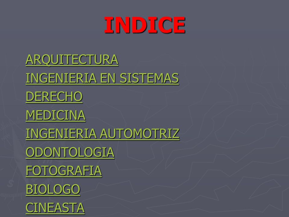 INDICE ARQUITECTURA INGENIERIA EN SISTEMAS DERECHO MEDICINA