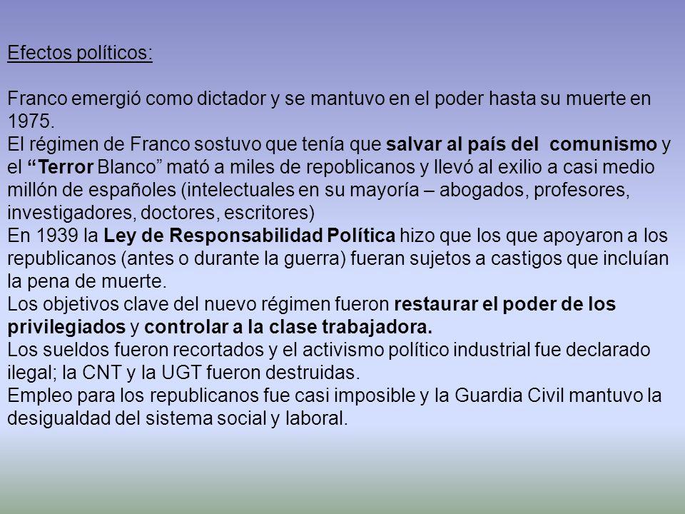 Efectos políticos: Franco emergió como dictador y se mantuvo en el poder hasta su muerte en 1975.
