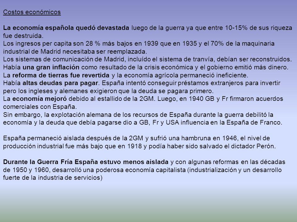 Costos económicosLa economía española quedó devastada luego de la guerra ya que entre 10-15% de sus riqueza fue destruida.