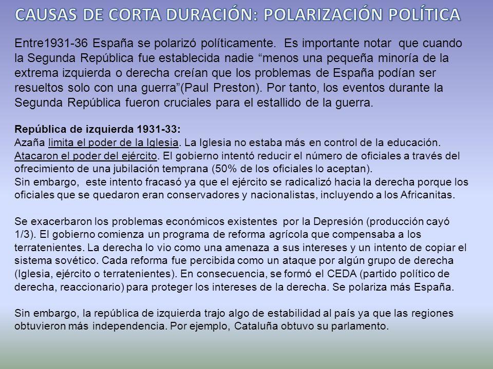 CAUSAS DE CORTA DURACIÓN: POLARIZACIÓN POLÍTICA