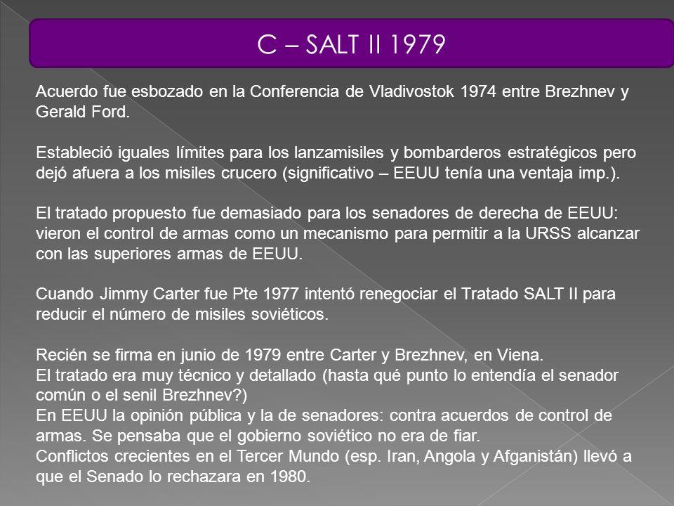 C – SALT II 1979 Acuerdo fue esbozado en la Conferencia de Vladivostok 1974 entre Brezhnev y Gerald Ford.