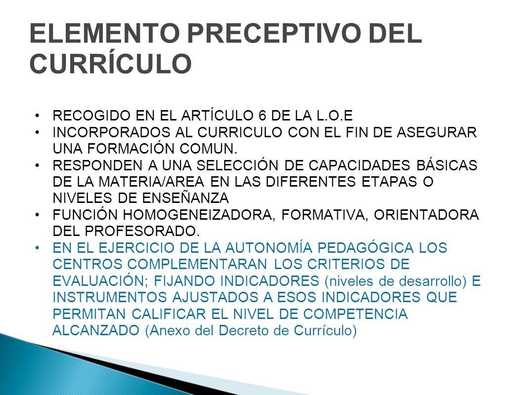 ELEMENTO PRECEPTIVO DEL CURRÍCULO