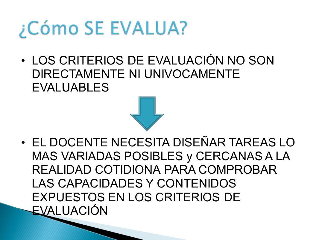 LOS CRITERIOS DE EVALUACIÓN NO SON DIRECTAMENTE NI UNIVOCAMENTE EVALUABLES