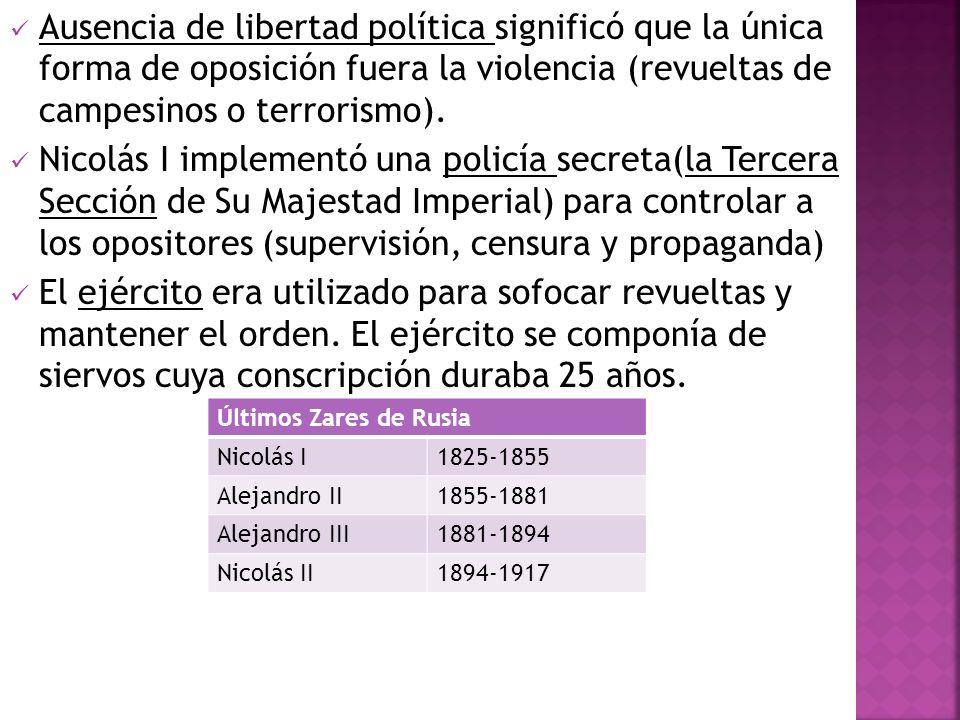 Ausencia de libertad política significó que la única forma de oposición fuera la violencia (revueltas de campesinos o terrorismo).