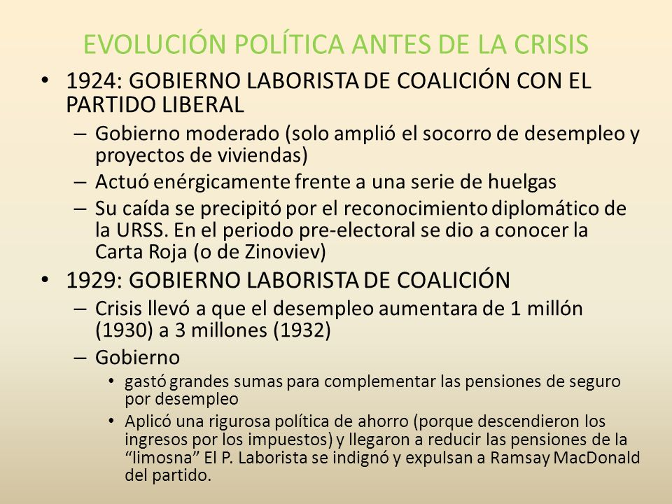 EVOLUCIÓN POLÍTICA ANTES DE LA CRISIS