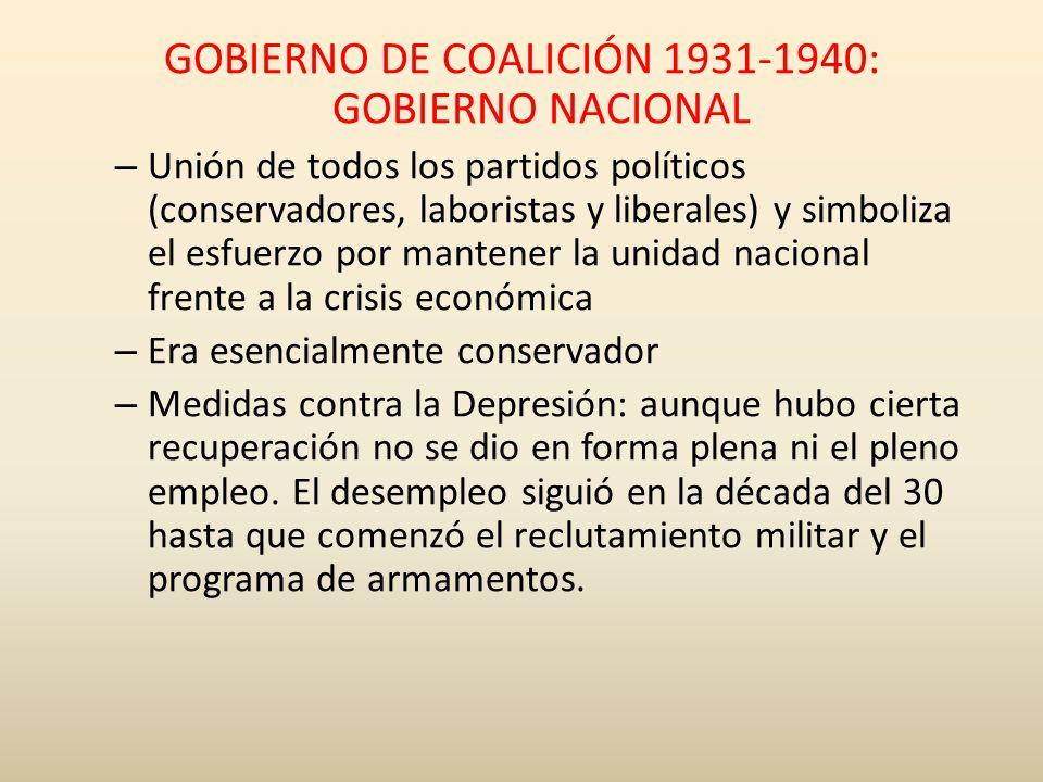 GOBIERNO DE COALICIÓN 1931-1940: GOBIERNO NACIONAL