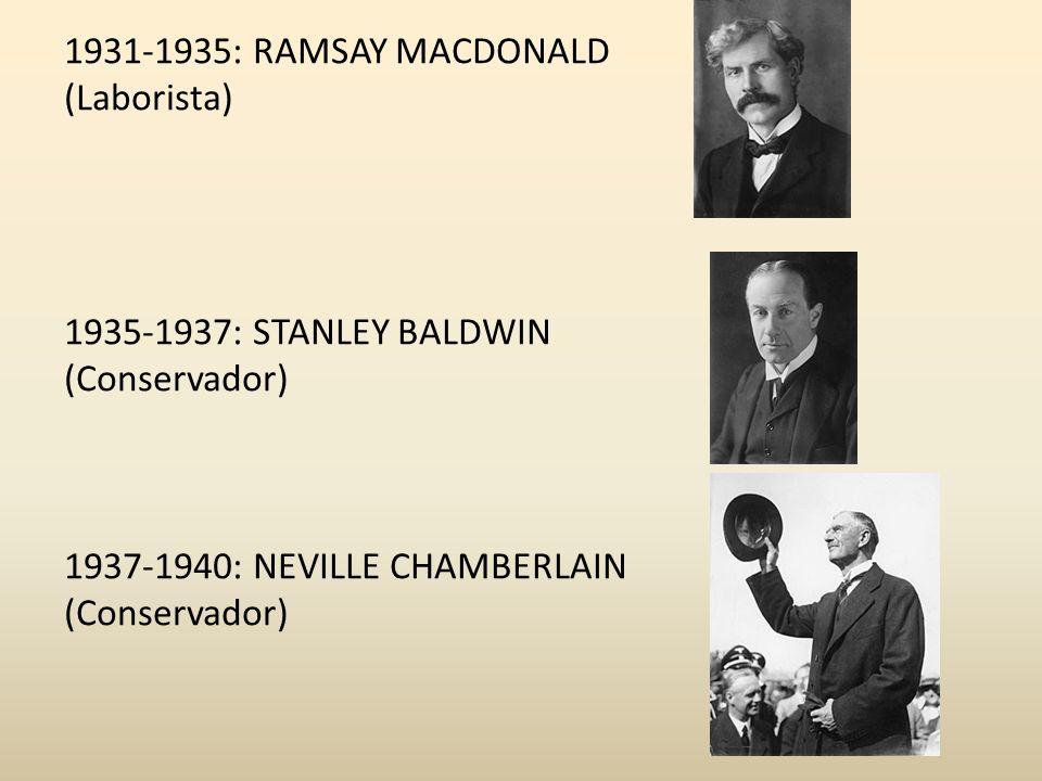 1931-1935: RAMSAY MACDONALD (Laborista) 1935-1937: STANLEY BALDWIN (Conservador) 1937-1940: NEVILLE CHAMBERLAIN