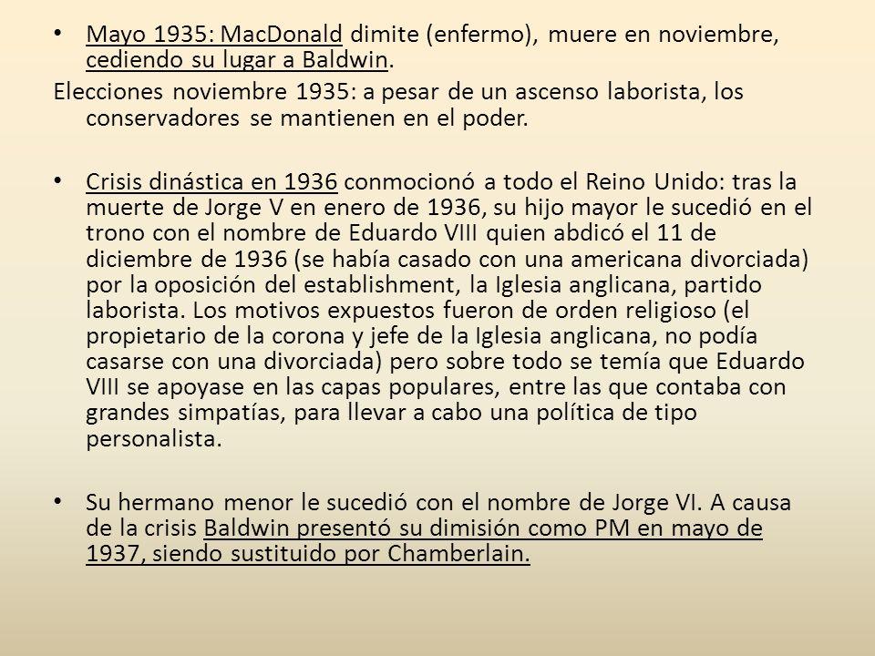 Mayo 1935: MacDonald dimite (enfermo), muere en noviembre, cediendo su lugar a Baldwin.