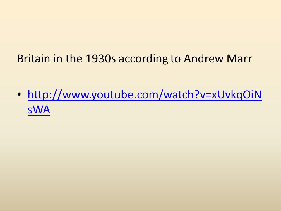 Britain in the 1930s according to Andrew Marr