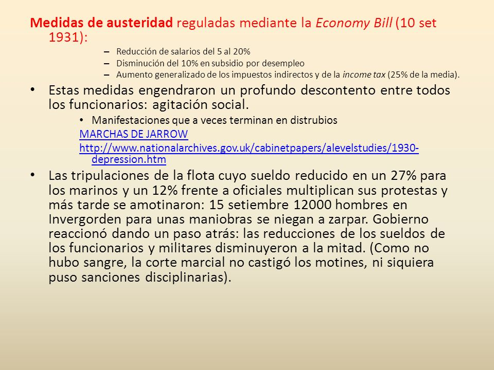 Medidas de austeridad reguladas mediante la Economy Bill (10 set 1931):