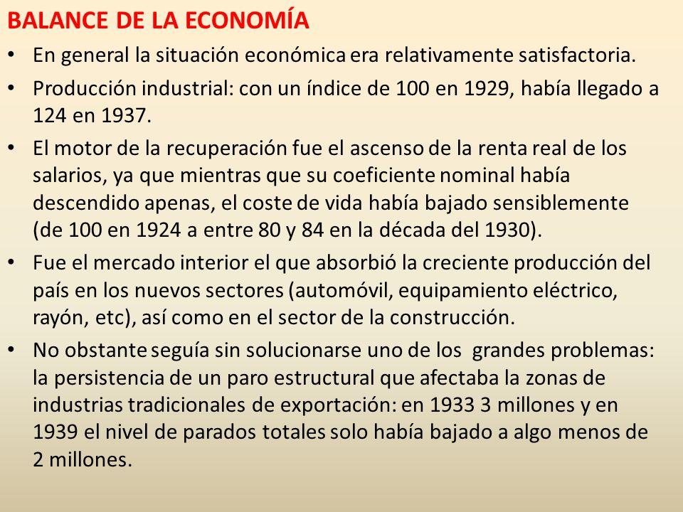 BALANCE DE LA ECONOMÍA En general la situación económica era relativamente satisfactoria.