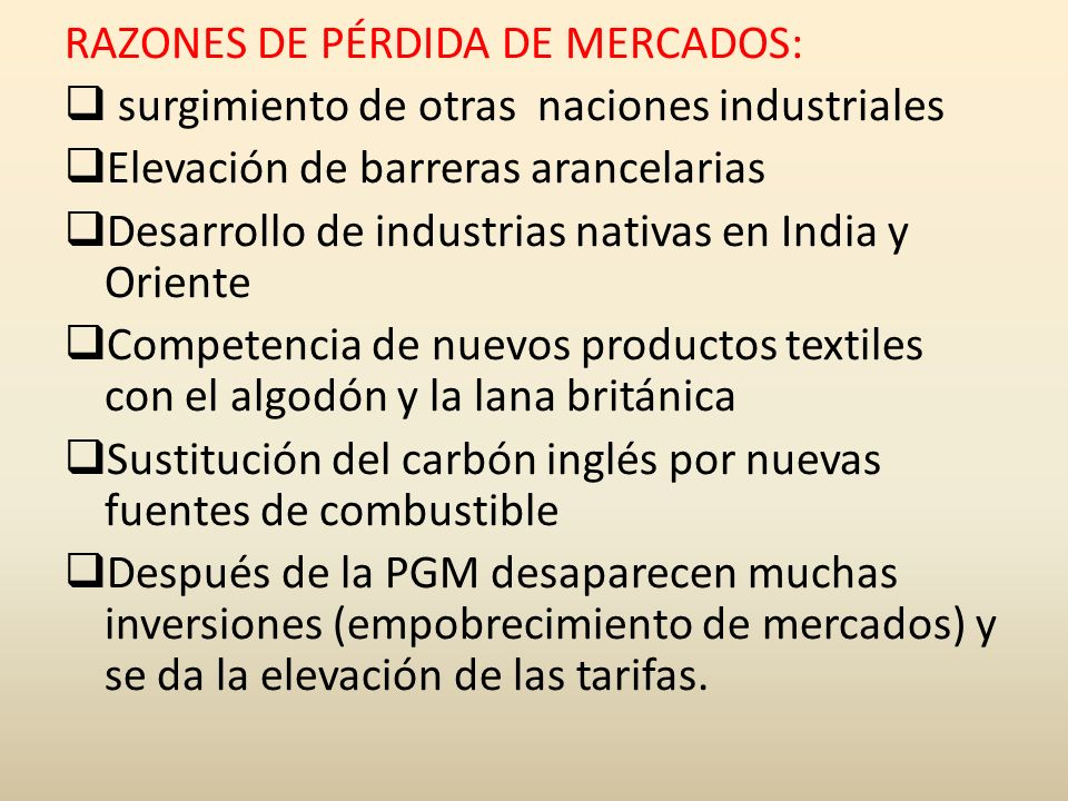 RAZONES DE PÉRDIDA DE MERCADOS: