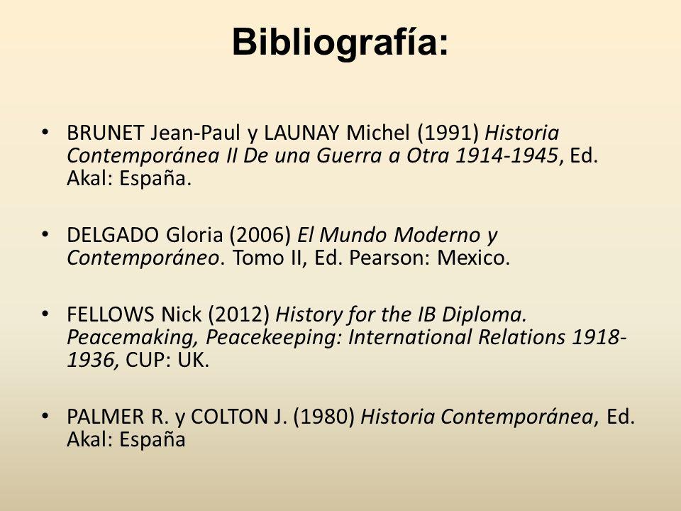 Bibliografía: BRUNET Jean-Paul y LAUNAY Michel (1991) Historia Contemporánea II De una Guerra a Otra 1914-1945, Ed. Akal: España.