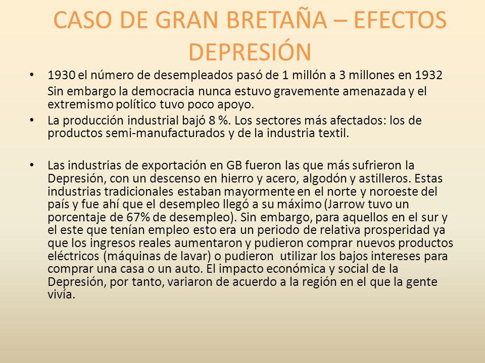 CASO DE GRAN BRETAÑA – EFECTOS DEPRESIÓN