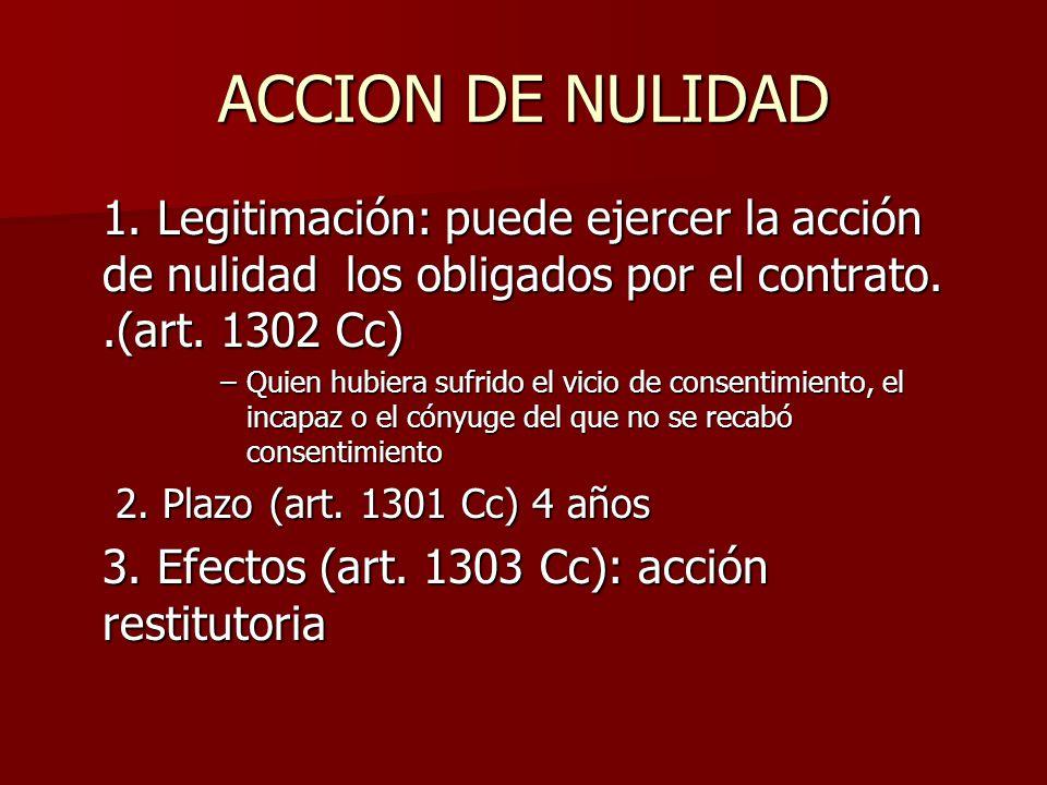 ACCION DE NULIDAD 1. Legitimación: puede ejercer la acción de nulidad los obligados por el contrato. .(art. 1302 Cc)