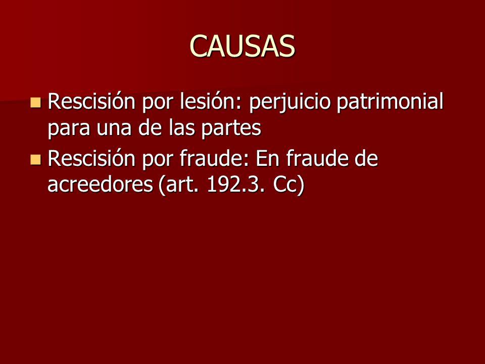 CAUSAS Rescisión por lesión: perjuicio patrimonial para una de las partes.