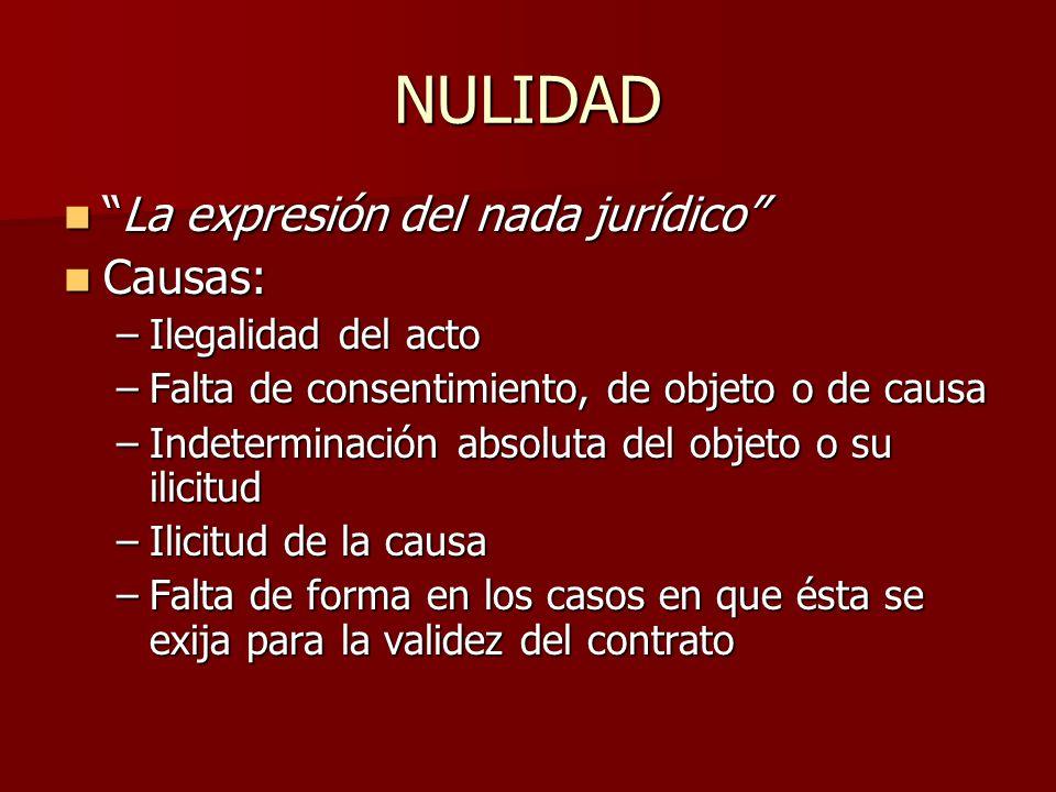 NULIDAD La expresión del nada jurídico Causas: Ilegalidad del acto