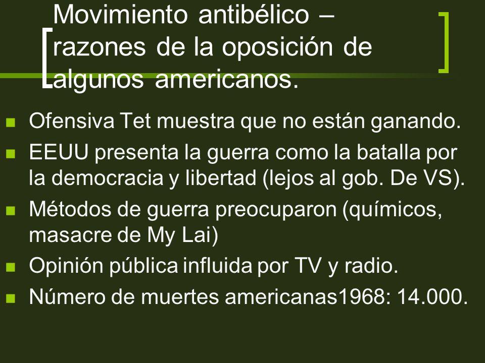 Movimiento antibélico – razones de la oposición de algunos americanos.