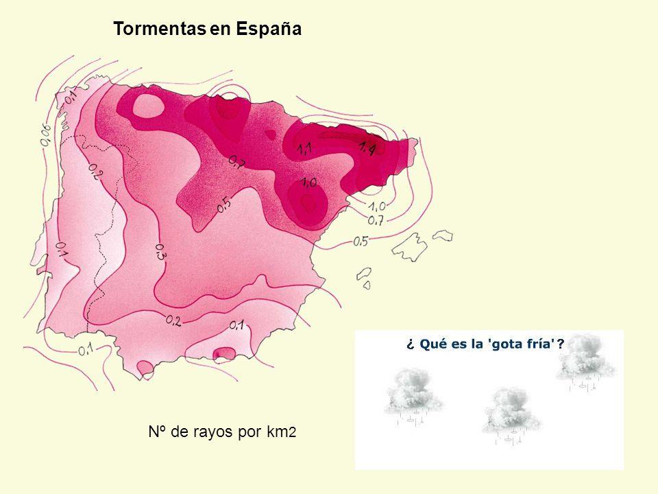 Tormentas en España Nº de rayos por km2
