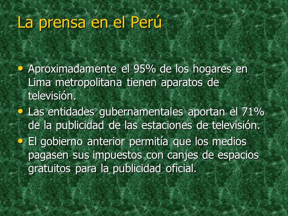 La prensa en el PerúAproximadamente el 95% de los hogares en Lima metropolitana tienen aparatos de televisión.