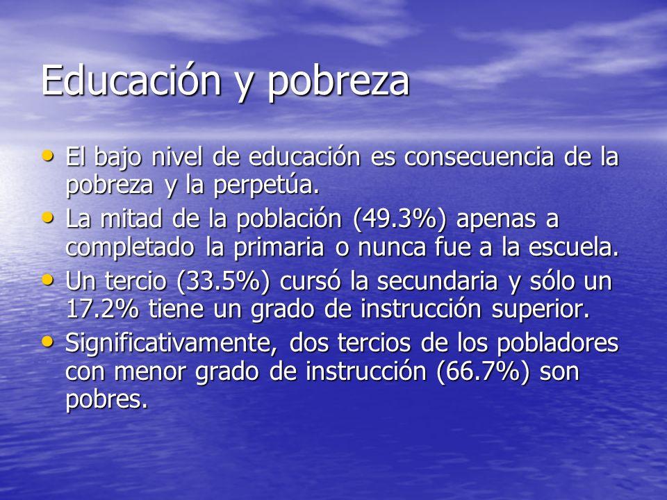 Educación y pobrezaEl bajo nivel de educación es consecuencia de la pobreza y la perpetúa.