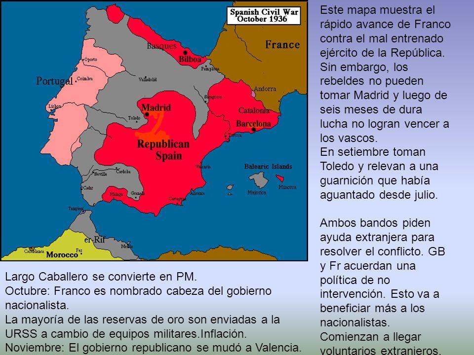 Este mapa muestra el rápido avance de Franco contra el mal entrenado ejército de la República. Sin embargo, los rebeldes no pueden tomar Madrid y luego de seis meses de dura lucha no logran vencer a los vascos.