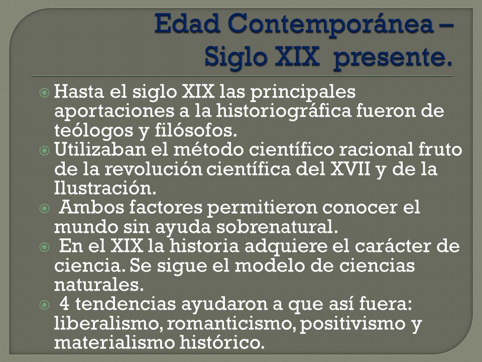Edad Contemporánea – Siglo XIX presente.