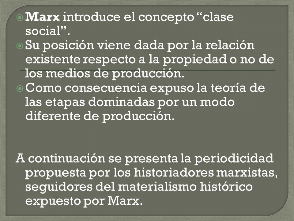 Marx introduce el concepto clase social .