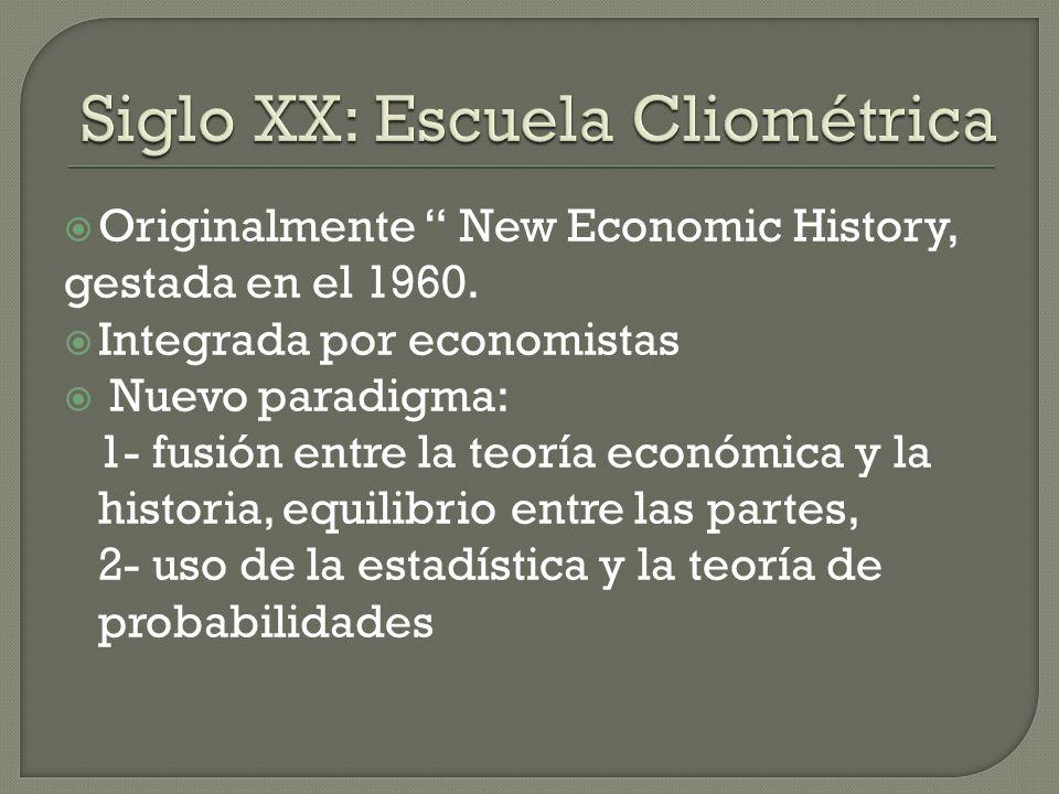 Siglo XX: Escuela Cliométrica