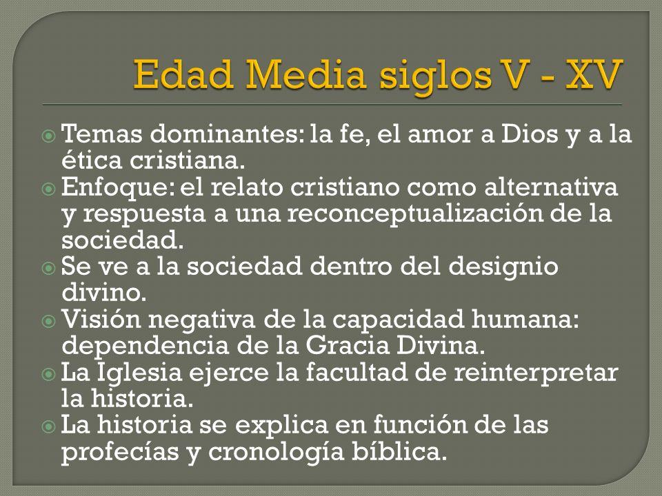 Edad Media siglos V - XV Temas dominantes: la fe, el amor a Dios y a la ética cristiana.