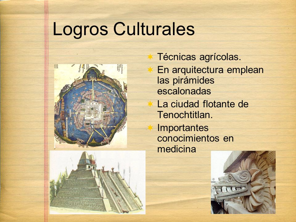 Logros Culturales Técnicas agrícolas.