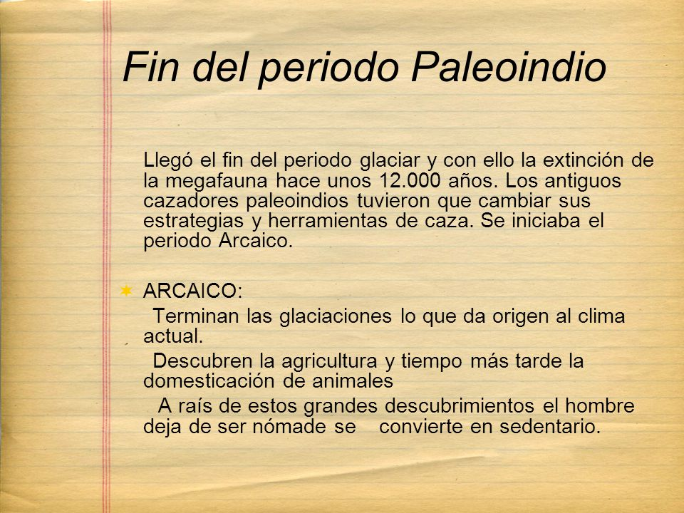 Fin del periodo Paleoindio