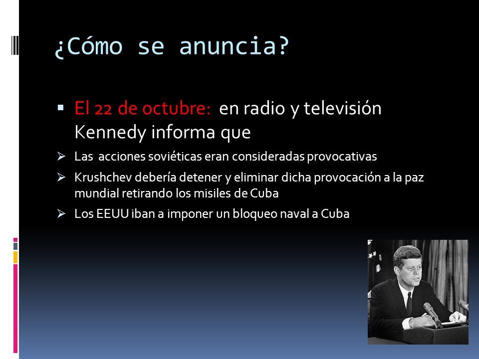 ¿Cómo se anuncia El 22 de octubre: en radio y televisión Kennedy informa que. Las acciones soviéticas eran consideradas provocativas.