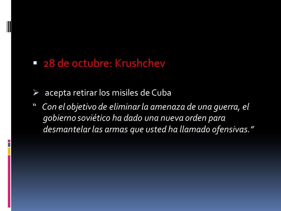 28 de octubre: Krushchev acepta retirar los misiles de Cuba