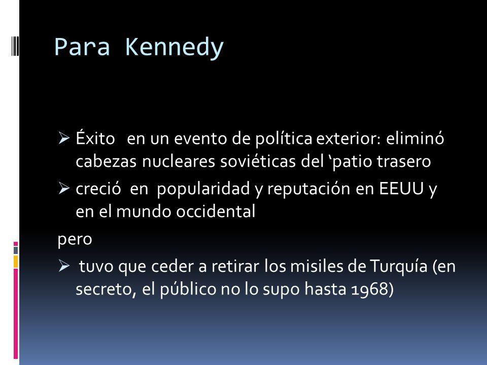 Para KennedyÉxito en un evento de política exterior: eliminó cabezas nucleares soviéticas del 'patio trasero.